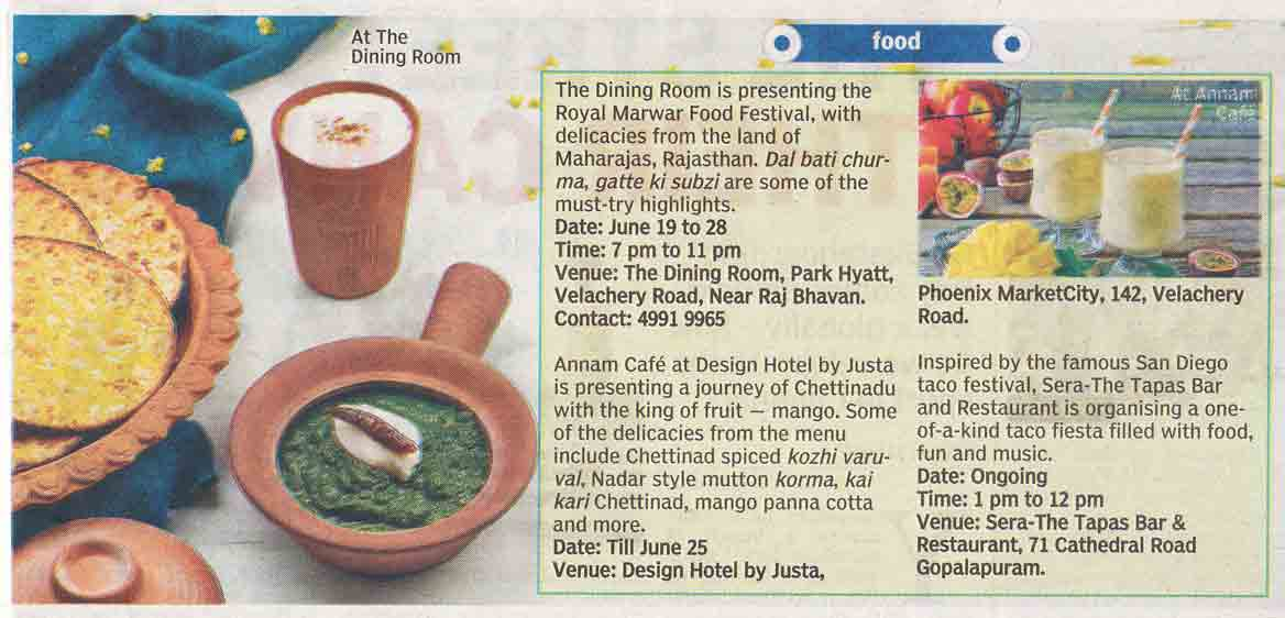 Chettinad Delicacies gets mentioned in Deccan Chronicle