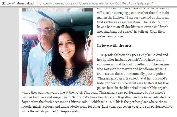 co-founder-mr-ashish-vohra-and-his-wife-mrs-deepika-govind-gets-mentioned-in-ahmedabad-mirror