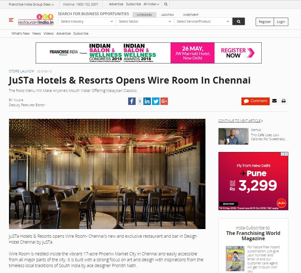 wire-room-featured-in-franchise-india-october-2018