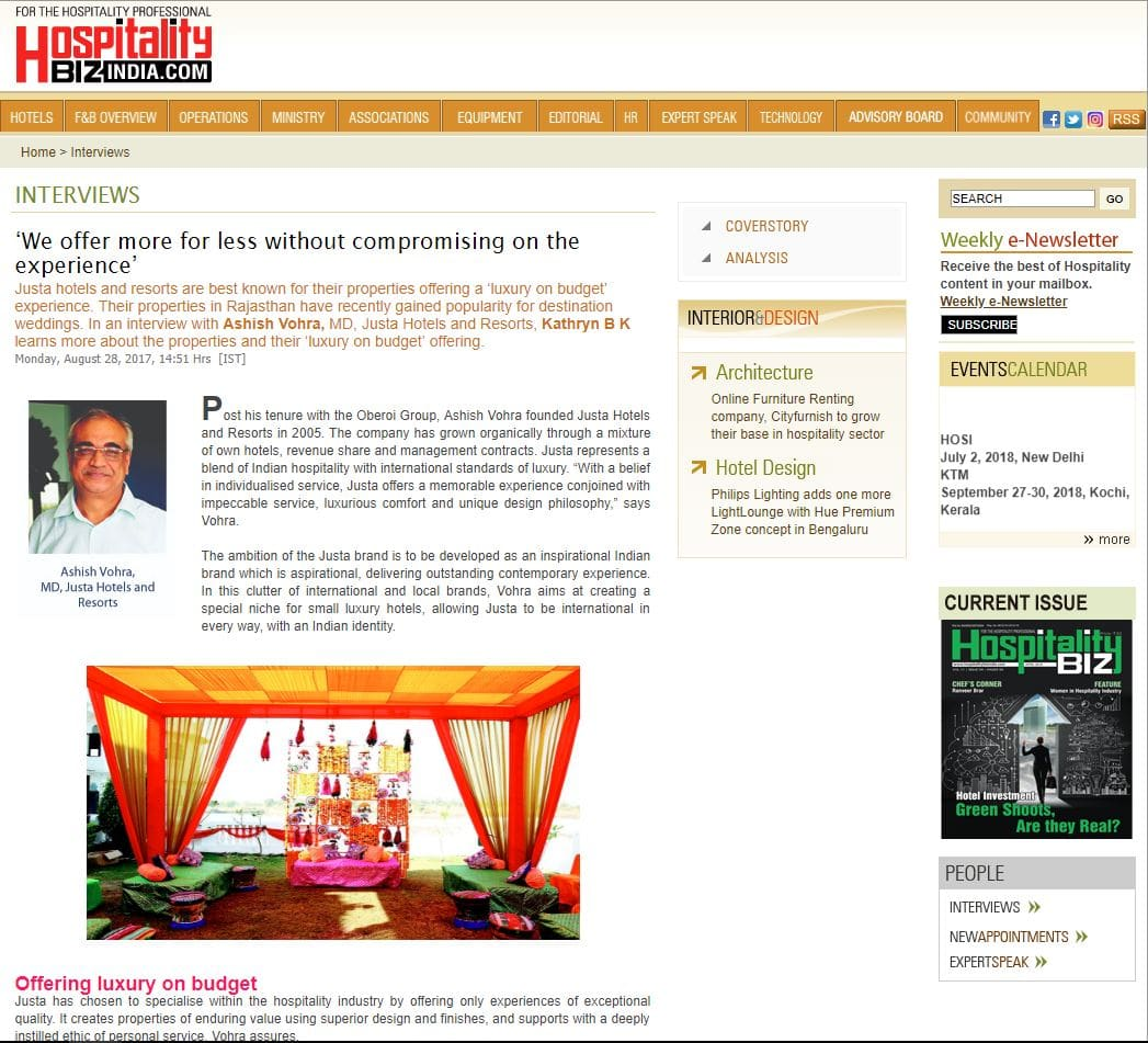 justa-hotels-and-resorts-featured-in-hospitality-biz-india-august-2017